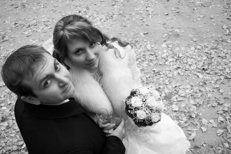 Wedding. Happy bride and groom on their wedding day stock image