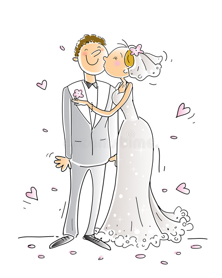 Wedding. Congratulations card vector illustration, happy couple kissing, cartoon characters vector illustration