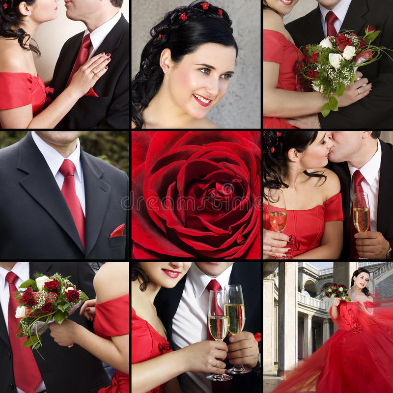 Wedding. Collage of several photos for wedding theme stock images