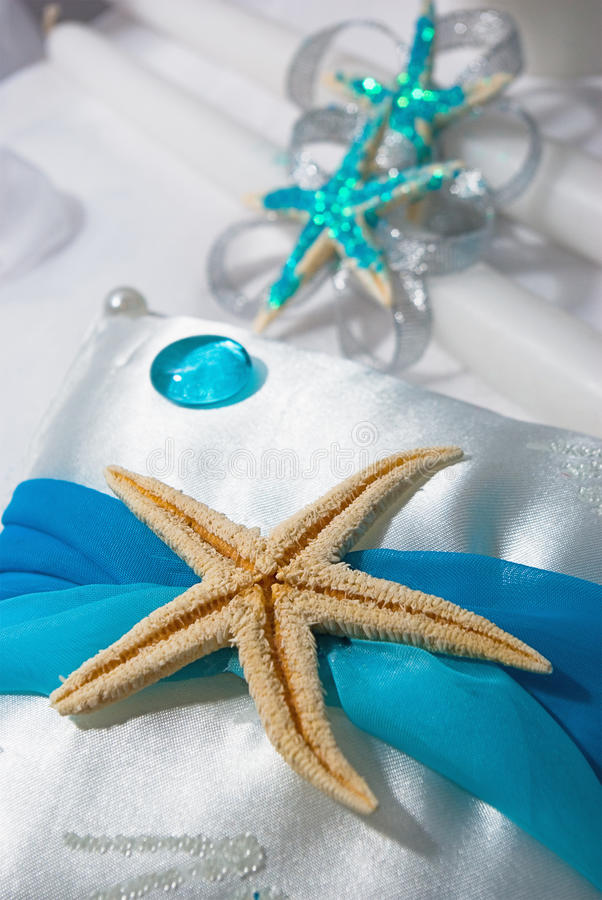 Wedding accessories. Decorated with starfish stock image