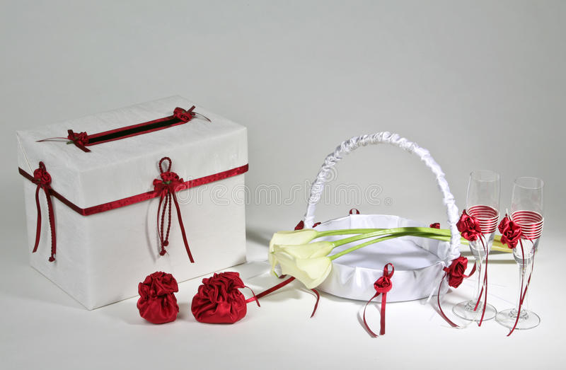 Wedding accessories. On a white background royalty free stock photo