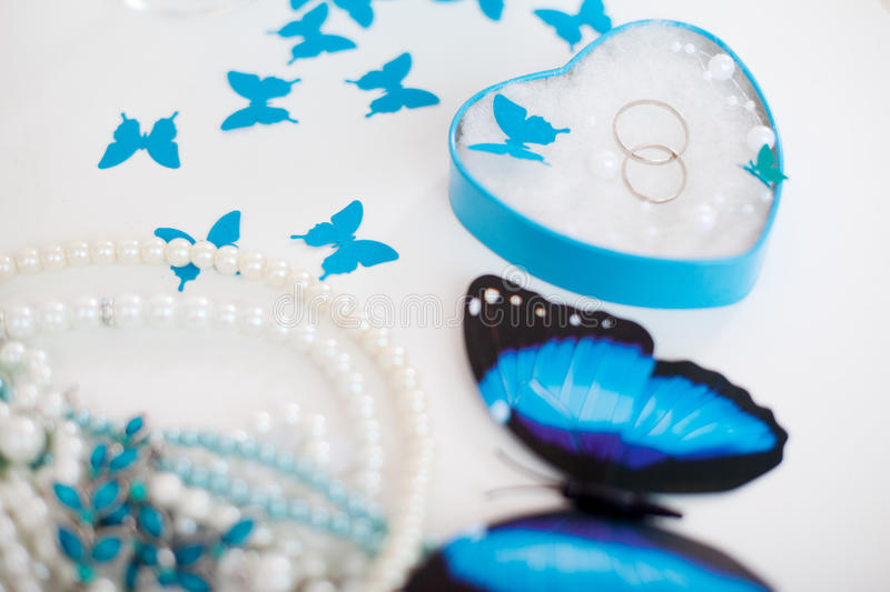 Wedding accessories. Beautiful wedding accessories for the bride royalty free stock images