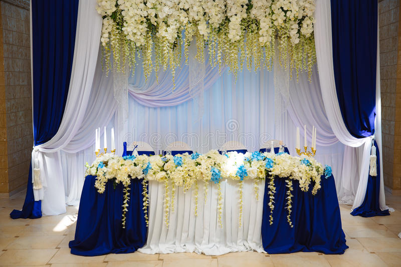 The decoration of the banquet hall table newlyweds stock image