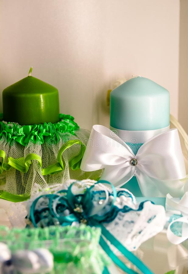 Wedding accessories. a set of wedding candles. candles for wedding.  royalty free stock images