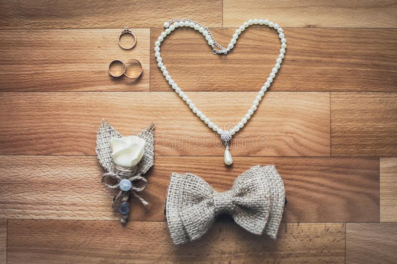 Wedding jewelery set stock photo