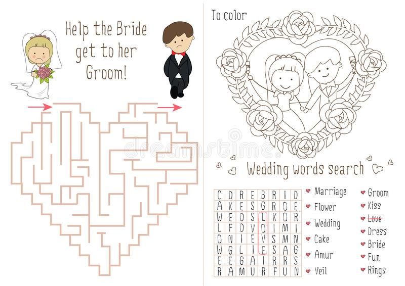 Download Wedding Activity Book For Kids The Maze Heart Stock Vector
