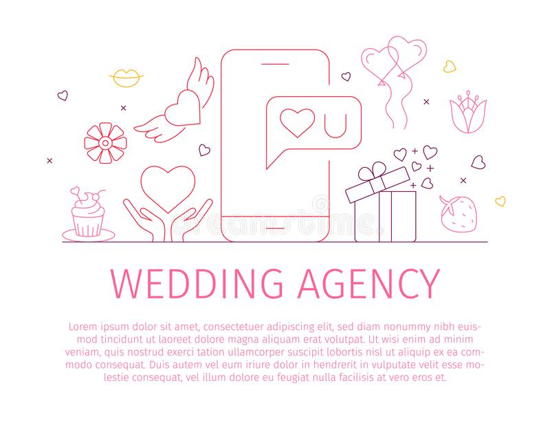 Wedding agency landing page template. Wedding - line design style banner on white background with place for text. Wedding agency landing page template. Vector royalty free illustration