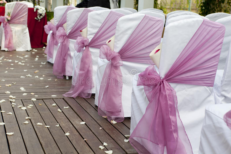Wedding Aisle. With chairs and decoration royalty free stock photo