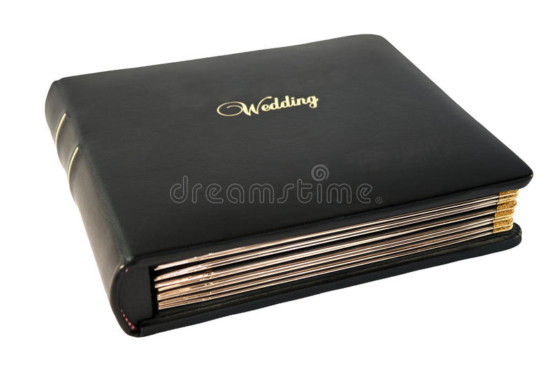 Wedding Album. In brown leather with gold trim isolated on a white background royalty free stock photography