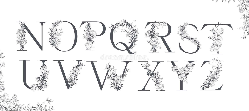 Wedding alphabet. Initials with botanical elements. Monogram arrangement. royalty free illustration