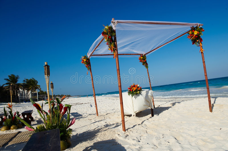 Wedding altar on beach royalty free stock image