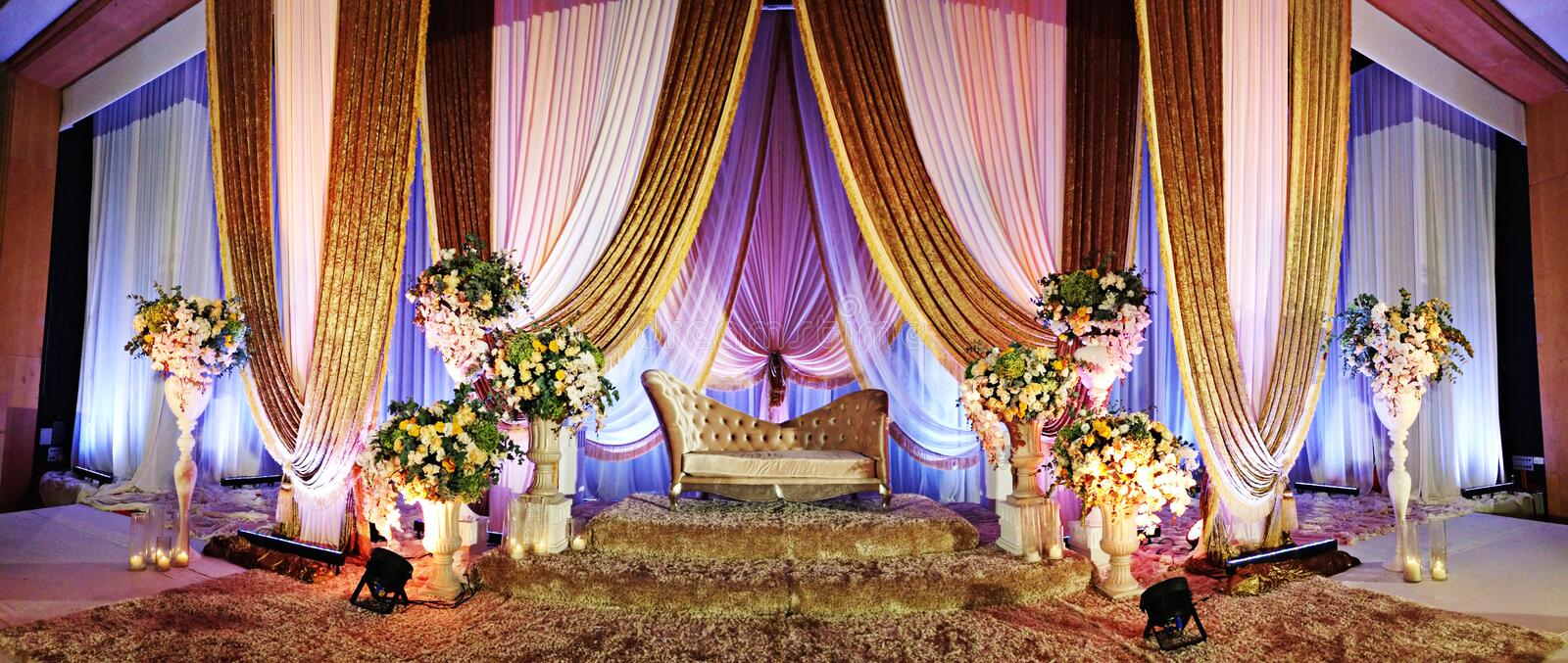 Wedding Altar. A beautifully decorated Wedding Altar on a stage at a wedding function royalty free stock image