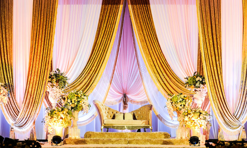 Wedding Altar. A beautifully decorated Wedding Altar on a stage at a wedding function royalty free stock images