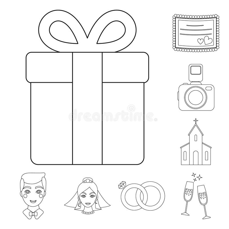 Free Wedding And Attributes Outline Icons In Set Collection For Design.Newlyweds And Accessories Vector Symbol Stock Web Royalty Free Stock Photography - 118479587