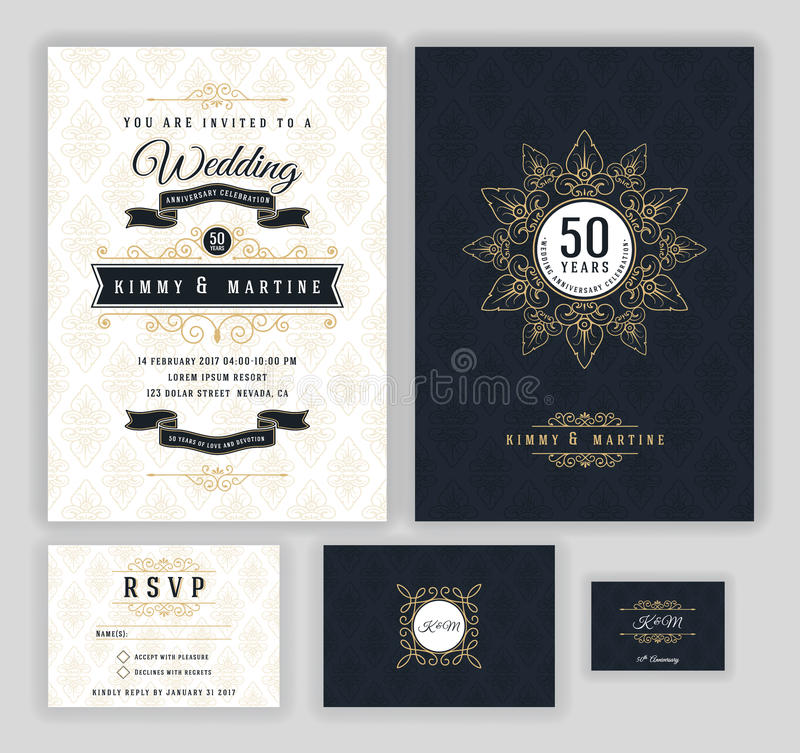 Wedding Anniversary Celebration Invitation Design Stock Vector ...