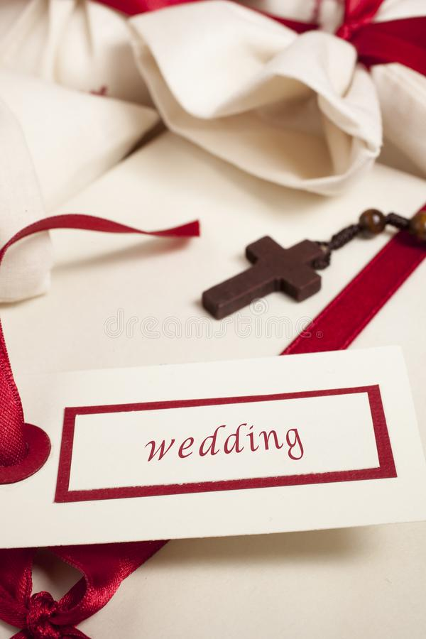 Wedding announcement with rosary royalty free stock images