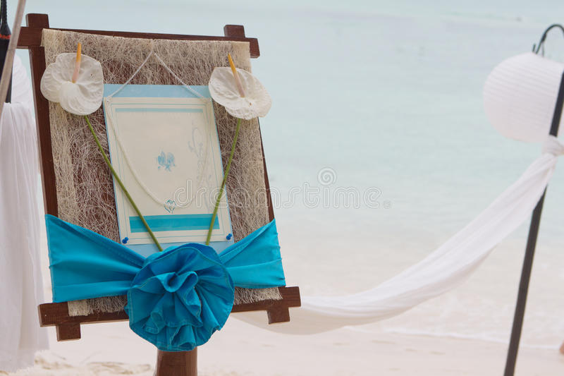 Wedding announcement on tropical sea and beach stock images