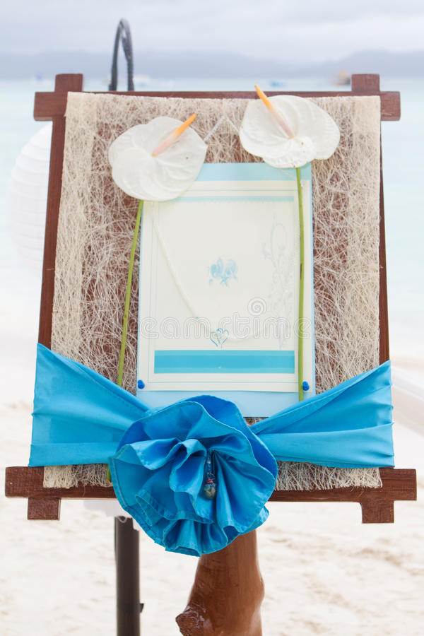 Wedding announcement on tropical sea and beach stock photo
