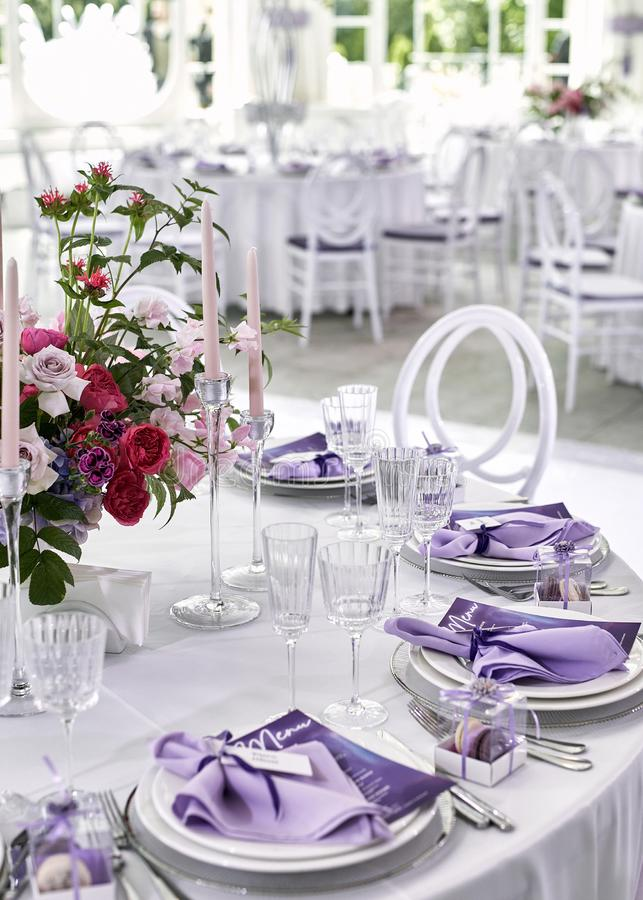 Wedding Appointment Interior and Wedding Table Setting. Wedding Decor with Fresh Flowers. Table Bride stock photo