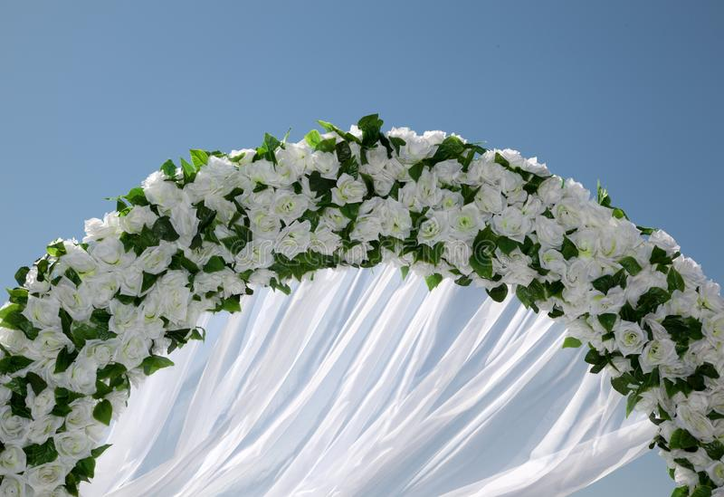 Wedding Arc of white Flowers stock photo