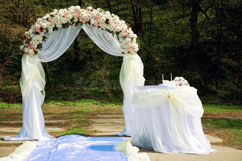 Wedding arch. In the park royalty free stock photo