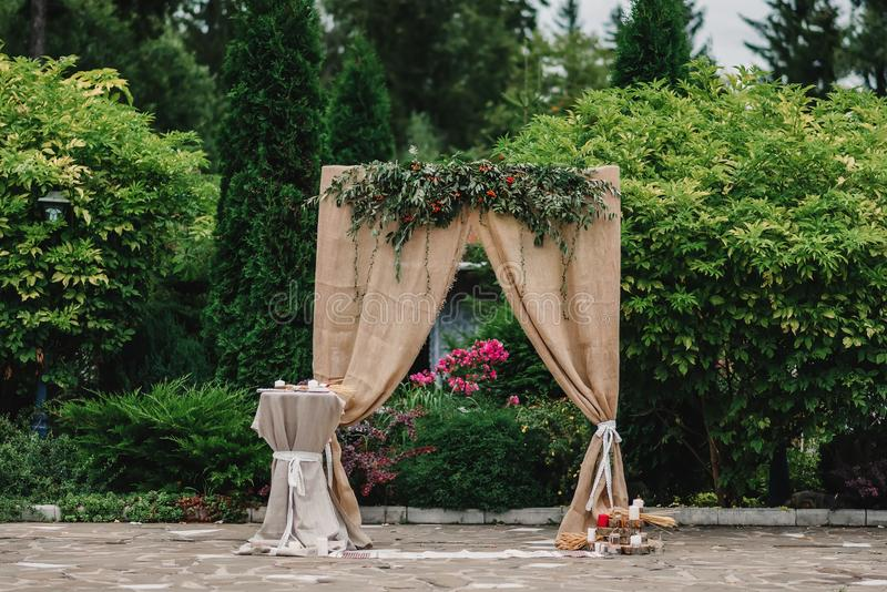 Wedding arch decorated in rustic style stock photo image of style download wedding arch decorated in rustic style stock photo image of style beige junglespirit Image collections