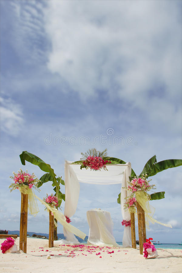 Wedding Arch And Set Up With Flowers On Tropical Beach Stock Photography