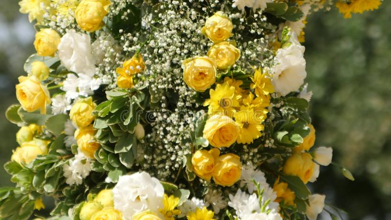 Wedding Arch With Yellow And White Flowers Close Up Stock Footage