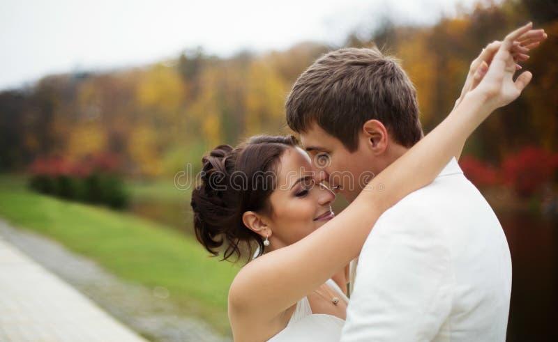 Wedding in autumn park. Couple celebrating wedding in autumn park stock image