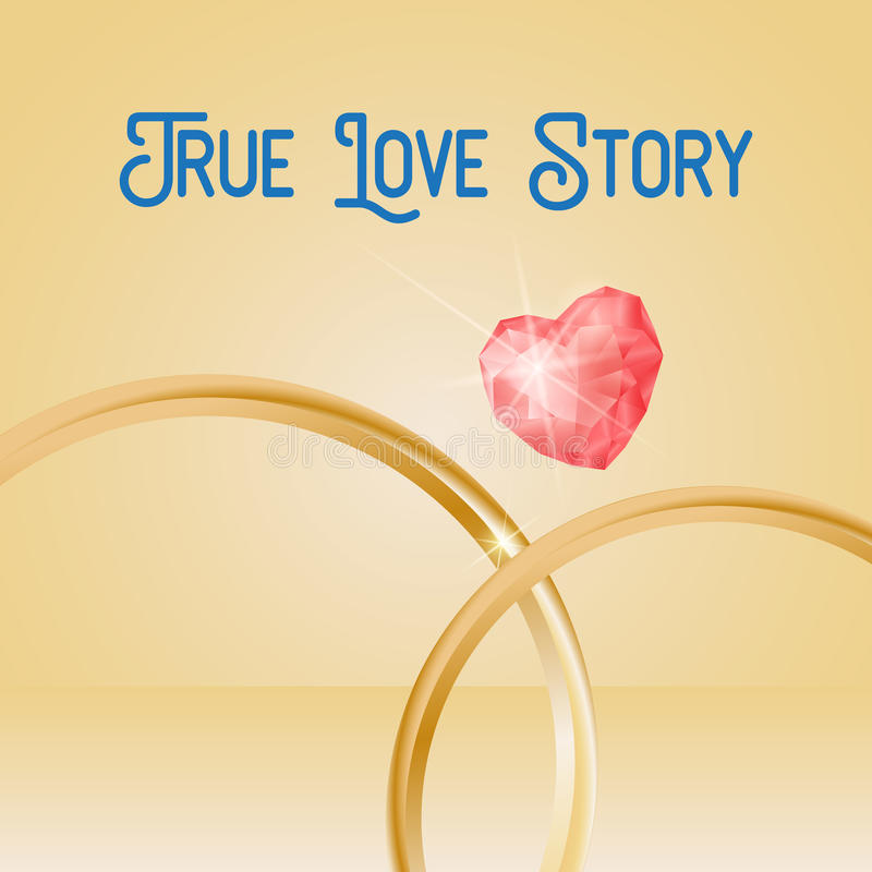 Wedding Background with gold rings, heart shaped gemstone, eps 10. True Love Story lettering stock illustration