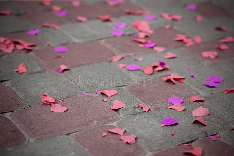 Wedding background with hearts on floor