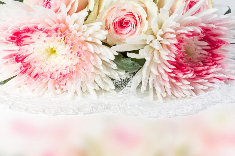 Wedding background with roses. Chrysantemums and lace royalty free stock photos