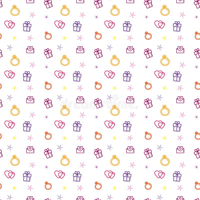 Wedding background seamless pattern. Love, romance flat line icons - hearts, engagement ring, gift, valentine card.  royalty free stock images