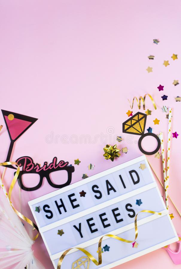 Free Wedding Background. She Said Yes Concept. Flat Lay Royalty Free Stock Photo - 141011285