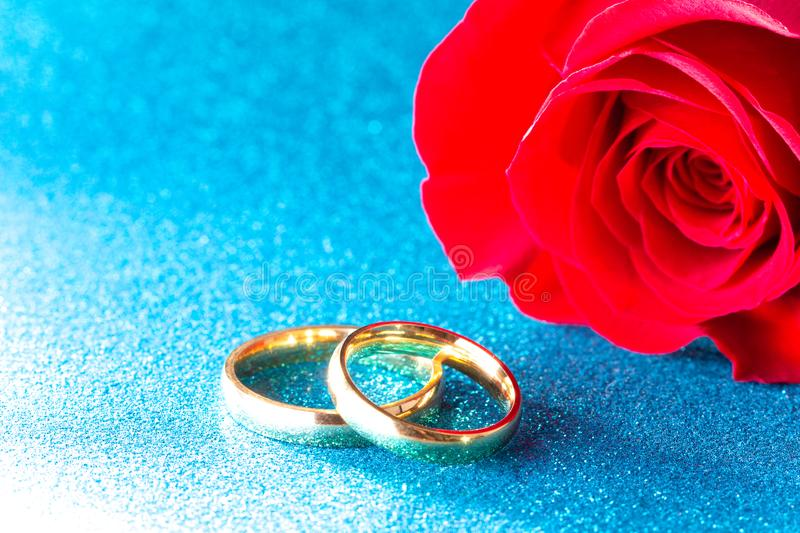Wedding Bands and a Red Rose on a Blue Background royalty free stock photos