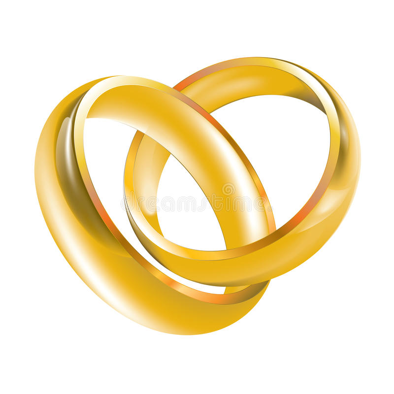 Wedding Bands Wedding Rings. Two vector gold weeding rings, gold wedding bands vector illustration