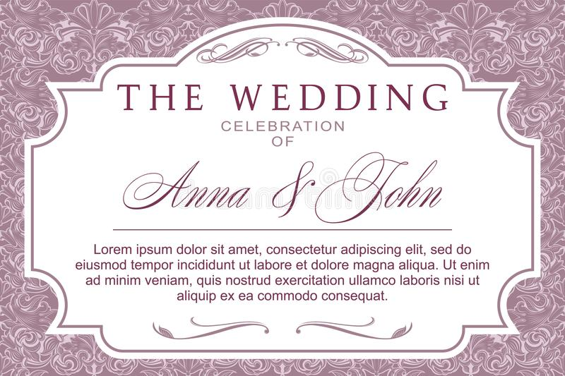 Wedding banner or invitations in Baroque style stock illustration