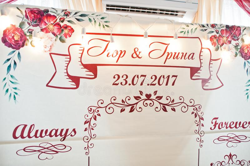 Wedding Banner In The Restaurant With Name Initials Of Newlyweds ...