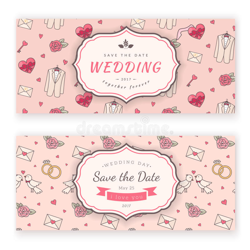 Wedding banner template. Vector decorative background for sweet romantic design vector illustration