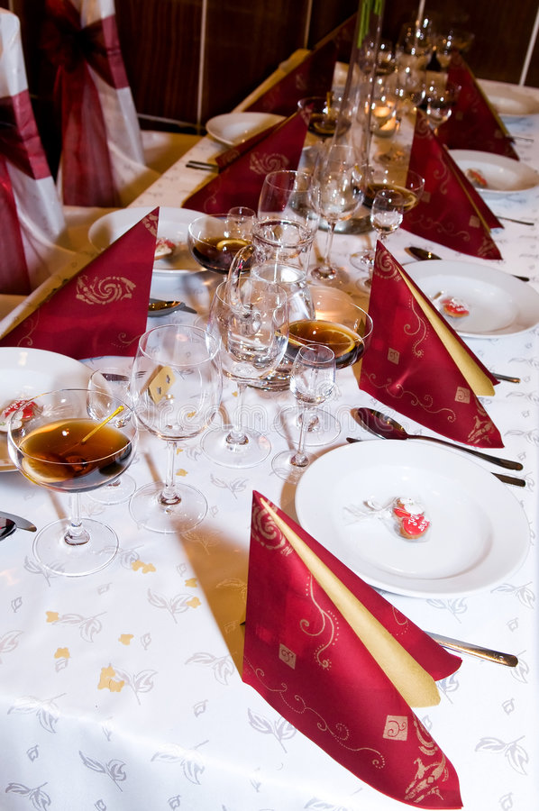 Wedding banquet. Table setting at a wedding banquet royalty free stock images