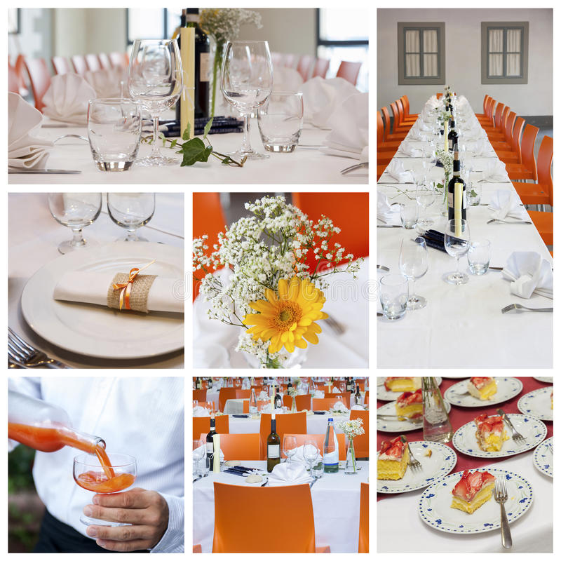 Wedding banquet collage stock photography