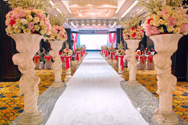 Wedding banquet hall. The deluxe wedding banquet hall royalty free stock photography