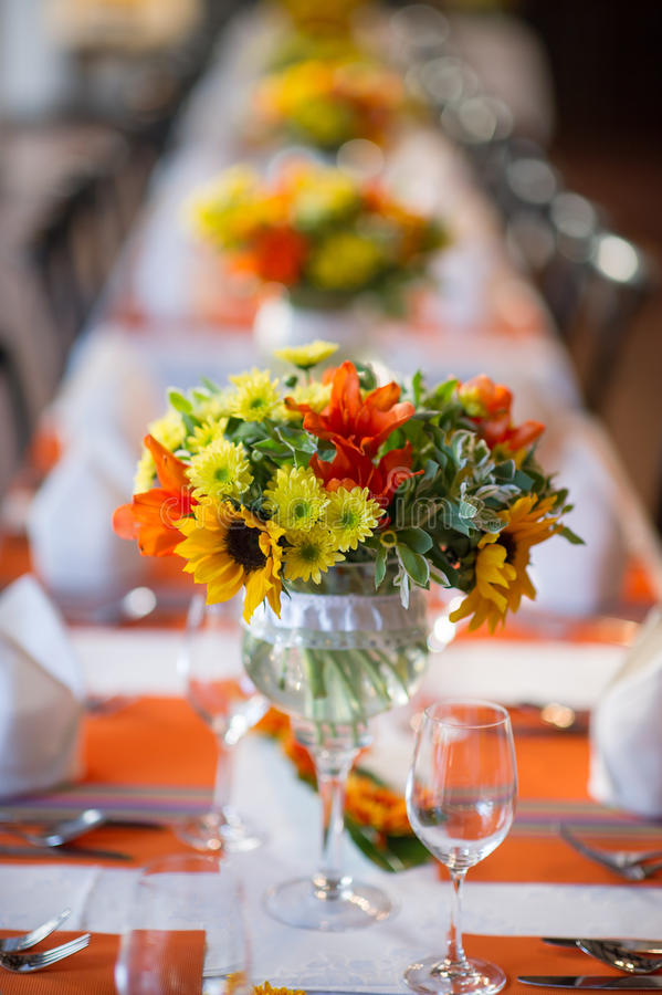 Wedding and Banquet table. Beautiful spent banquet table decoration stock images
