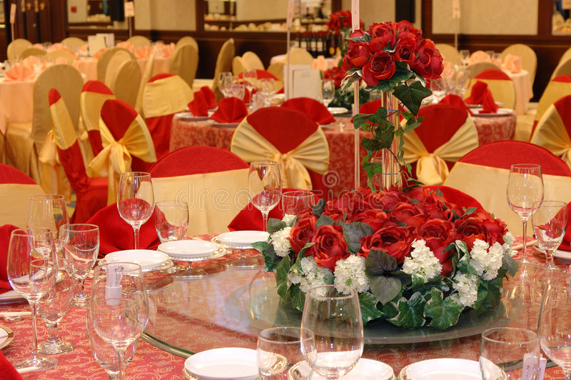 Wedding banquet table setting royalty free stock images