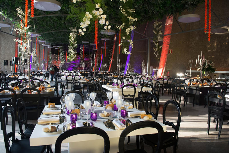 Wedding Banquet Tables Decoration, Dinner Party, Event royalty free stock photography