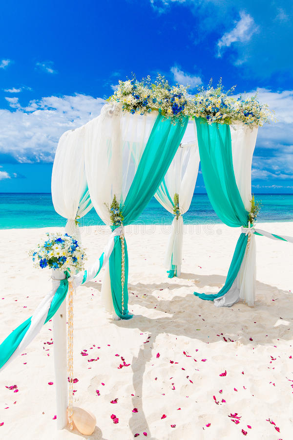 Wedding on the beach wedding arch decorated with flowers on tr download wedding on the beach wedding arch decorated with flowers on tr stock image junglespirit