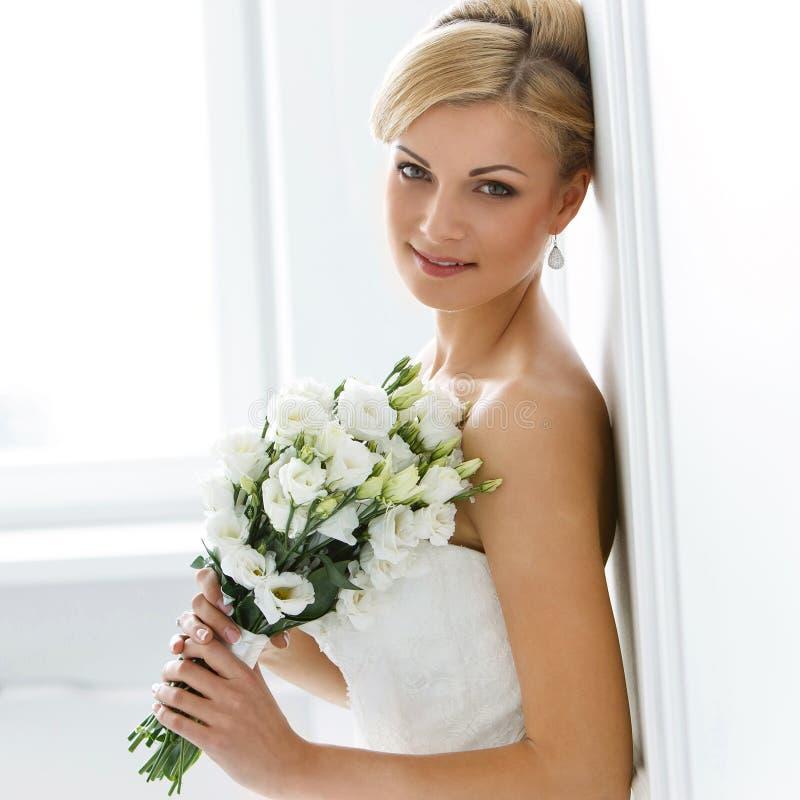 Wedding. Beautiful bride. Wedding. Attractive bride with wide smile royalty free stock photos