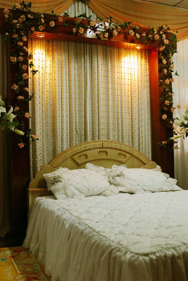Wedding bed decoration stock image image of banquet for Marriage bed decoration photos