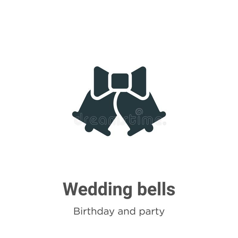 Wedding bells vector icon on white background. Flat vector wedding bells icon symbol sign from modern birthday and party stock illustration