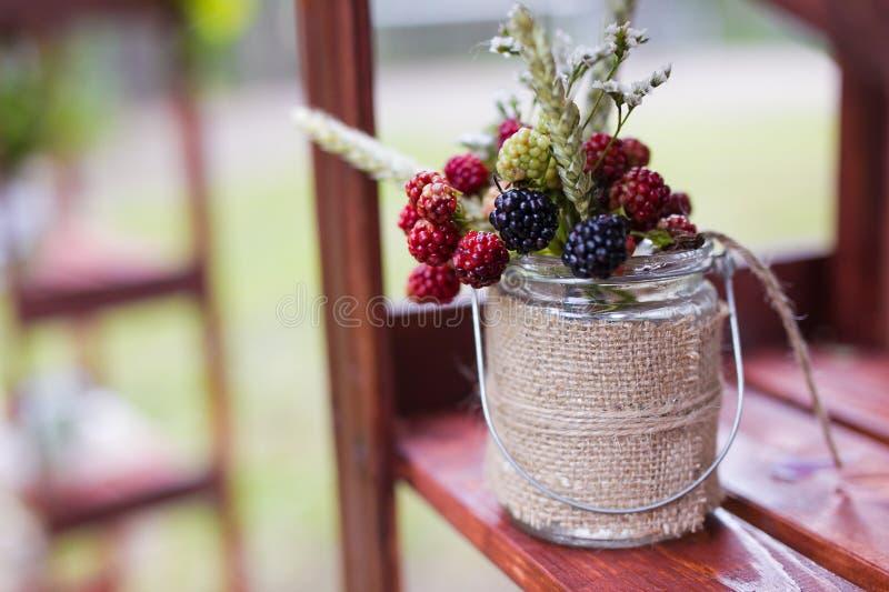 Wedding berries in jar. Decor closeup royalty free stock photos
